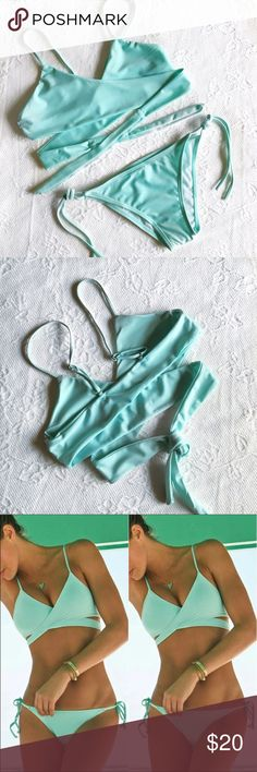 Brand New Mint Bikini Brand new super cute mint blue bikini! The top wraps around while the bottom is cheeky! Summer must have!!⠀⠀⠀⠀⠀⠀⠀⠀⠀⠀⠀⠀⠀⠀⠀⠀⠀ Tag says M but it fits size Small.⠀⠀⠀⠀⠀⠀⠀⠀⠀⠀ Not VS used for exposure.⠀⠀⠀⠀⠀⠀⠀⠀⠀⠀⠀⠀  Comes with removable padding. Victoria's Secret Swim Bikinis