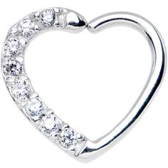 16 Gauge Clear CZ Heart Right Closure Daith Cartilage Tragus Earring   Body Candy Body Jewelry