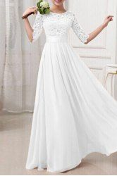 Elegant Solid Color Half Sleeve Cut Out Lace Spliced Maxi Dress For Women (WHITE,2XL)   Sammydress.com Mobile