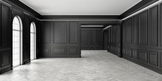 Classic style empty black room with parquet and classic wall pannels, big window and home interior illumination. Accent Wall Panels, Wall Panel Design, Pvc Wall Panels, Decorative Wall Panels, Wall Trim, White Wall Paneling, Off White Walls, Raised Panel Walls, Wall Pannels