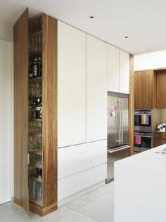 44 Trendy Kitchen Storage Unit - Image 19 of 24 Modern Kitchen Cabinets, Kitchen Cabinet Design, Modern Kitchen Design, Kitchen Storage, Tall Cabinet Storage, Kitchen Ideas, Kitchen Decor, Smart Kitchen, Kitchen Photos