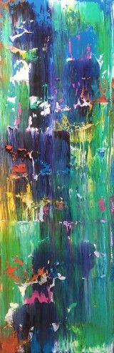 WATERFALL - original 12 x 36 in modern acrylic fine art abstract canvas painting rainbow landscape sunset sunrise nature ocean. Brittany Houchin - Studio Evolve Art. COLOR: Rainbow, red, yellow, orange, blue, aqua, white, green, purple, and white. Can make something similar in any colors or size, just send me a request.   SIZE: 36in x 12in x 2in (gallery wrapped)    MEDIUM: Acrylic paint and varnish. All of my paintings are original.