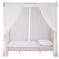 Cama con dosel infantil 90 × 190 cm de metal rosa