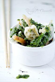 vegetable tempura with carrots pesto.