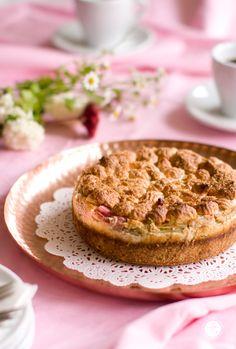 Rezept Rhabarber Kaesekuchen mit Baiser und Mürbeteigboden