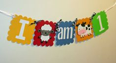 Farm Animal I am 1 Banner Primary Colors farm by AngiesDesignz, $13.00