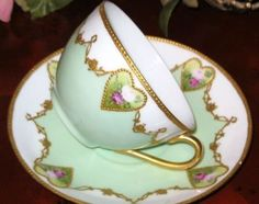 Germany HP ROSES ETCHED GILT ROSES Tea Cup and Sauce