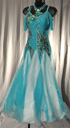 Elegant Aqua Drop Shoulder Mesh Sleeves Ballroom Dress