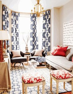 blue ikat curtains, neutral sofa, red pillows / A Maple House