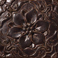 """Flor De Pablo, Color: Suede Brown, 8X8"""" Decorative Tile"""