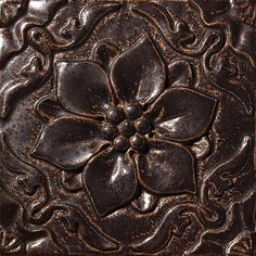 "Flor De Pablo, Color: Suede Brown, 8X8"" Decorative Tile"