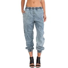 Evil Twin Slow Burn Denim Jogger ($63) ❤ liked on Polyvore featuring pants, bottoms, jeans and evil twin