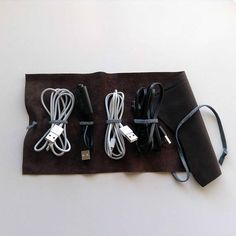 Your place to buy and sell all things handmade Dark Brown Leather, Soft Leather, Cord Holder, Cord Organization, Cable Organizer, Stocking Fillers, Leather Accessories, Bud, Gifts For Him