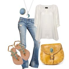 A fashion look from April 2012 featuring white silk top, blue distressed jeans and jewel sandals. Browse and shop related looks. Passion For Fashion, Love Fashion, Womens Fashion, Spring Fashion, Style Fashion, Fasion, Fashion Outfits, New Wardrobe, Jeans Fit