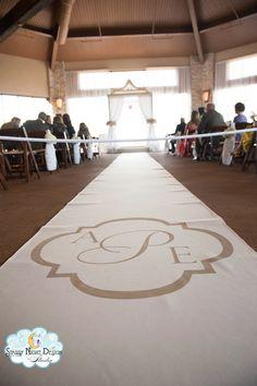 Stunning Three Letter Monogram on Ivory Runner #aislerunner, #weddingaislerunner www.starrynightdesignstudio.com