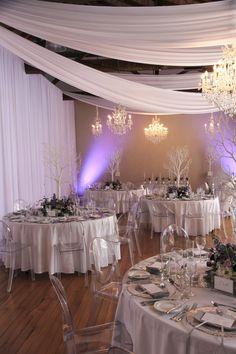 Wedding styling, white draping and chandeliers, purple winter wonderland wedding. Wedding Themes, Wedding Styles, Wedding Ideas, Winter Wonderland Wedding, Winter Tops, Crystal Ball, Draping, Chandeliers, Real Weddings