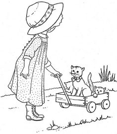 Girl and Wagon Cat Coloring Page, Coloring Pages For Girls, Coloring Book Pages, Vintage Embroidery, Hand Embroidery, Embroidery Designs, Applique Patterns, Applique Quilts, Girls Quilts