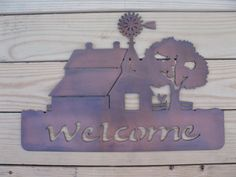 Rustic Old Barn and Windmill farm scene in metal art on Etsy, $42.00