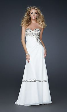 white long strapless prom dress with sparkly accents!
