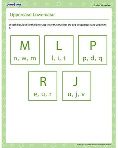 'Uppercase Lowercase' is a letters worksheet that teaches kids to recognize the lowercase and uppercase versions of the letters of the alphabet. Letter Worksheets For Preschool, English Worksheets For Kids, Reading Worksheets, Preschool Letters, Learning Letters, Writing Activities, Fun Activities, Kids Learning