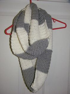 crochet cowl in grey and white stripe. by Jancraft1 on Etsy, $20.00