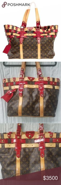 Louis Vuitton LIMITED EDITION Rubis Salina GM-RARE LIMITED EDITION Monogram Rubis Salina Bag features vachetta leather, Monogram Canvas and red crocodile embossed patent leather.   Shiny studded details & bright red textile interior finish off this extremely RARE COLLECTOR'S EDITION BAG ❤  Previously LOVED in GOOD condition.   Signs of usage: slight wear on bottom corner edges, developed honey patina coloring w/ some water stains, wear on leather handles, NO tears in interior but needs…