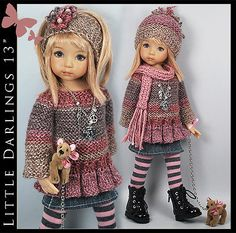 """Doggie 8 Piece Outfit for Little Darlings Effner 13"""" by Maggie Kate Create 