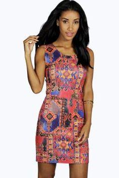 Millie Aztec Sleeveless Bodycon Dress at boohoo.com