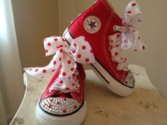 buy popular 99d5d c80d7 Items similar to Toddler Red Polka Dot Bling Converse on Etsy