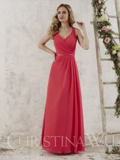 2016 A-line V-neck Red Long Bridesmaid Dress Christina Wu Style 22713 Dressy 51943d16efec