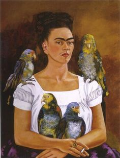 Me and My Parrots, 1941 by Frida Kahlo. Naïve Art (Primitivism). self-portrait. Collection of Mr. & Mrs. Harold H. Stream New Orleans, Louisiana, U.S.A.