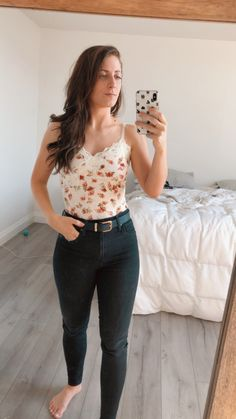 #affiliate  Beautiful floral guess bodysuit  Great w jeans or leggings no bunching  of a tucked in shirt