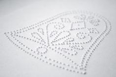Easy diy Christmas card idea. Scandinavian inspired design pin pricked into heavyweight paper.