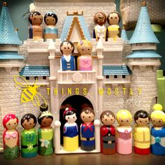 All 16 Princesses and Princes Peg Doll People - Tiana, Belle, Snow White, Aurora, Rapunzel, Ariel, Cinderella, Jasmine and all their dudes