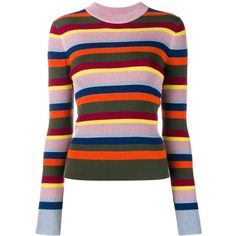 House Of Holland striped knit jumper ($604) ❤ liked on Polyvore featuring tops, sweaters, multicolor, knit top, striped top, metallic top, metallic sweater and colorful striped sweater