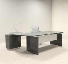 H2O Furniture - 2pc Modern Contemporary L Shaped Executive Office Desk Set,