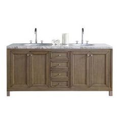 James Martin Signature Vanities Chicago 72 in. W Double Vanity in Whitewashed Walnut with Marble Vanity Top in Carrara White with White Basin 305V72WWW4CAR at The Home Depot - Mobile