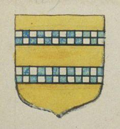 Charlotte LE COCQ, veuve de Macé  RABUT, messager à Angers. Porte : d'or, à deux faces échiquetées d'argent et d'azur, de deux traits chacune | N° 109
