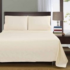 Superior Percale Cotton 300 Thread Count Solid Sheet Set, Beige