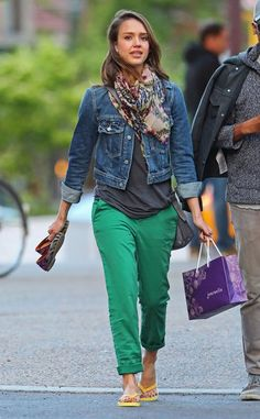Be Inspired by Birthday Girl Jessica Albas 77 Cool Ways to Work Denim: Yet another Cali-cool look from Jessica Alba: a white denim Sanctuary jacket, brilliant blue shades, and silver python flats paired with bright green boyfriend jeans.  : Jessica exuded Spring in a floral Karen Zambos maxi, a denim Genetic Denim vest, and a two-toned wrap scarf in LA. : For a pedicure session in NYC, Alba swapped her colored denim for a classic jean jacket, preppy green pants, and a printed wrap scarf.