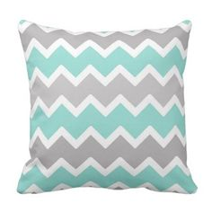 Aqua Blue and Grey Gray Chevron Throw Pillow.  Find out even more at the image link