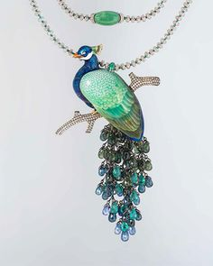 "Necklace ""Peacock"" I. Fazulzyanov Moscow, 2015 Gold, silver, diamonds, sapphires, emeralds, hot enamel jewelry; investment casting, carving, metal, enamel on relief, notched enamel, painting on enamel, rhodium. Private collection, Moscow."