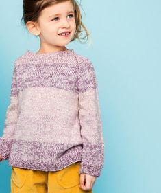 Helppo kahden langan raitapusero lapselle pellavasta ja puuvillasta - Kotiliesi.fi Knitting For Kids, Knitting Projects, Knit Crochet, Pullover, Sweaters, Fashion, Tejidos, Tricot, Moda