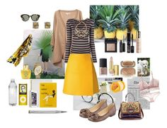 """Yellow skirt."" by nathalie-puex ❤ liked on Polyvore featuring Delfina, Belle Fleur, Estée Lauder, NARS Cosmetics, Acqua di Parma, Taryn Rose, Burberry, The Body Shop, Giuliano Mazzuoli and Dolce&Gabbana"