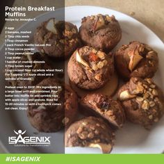 14 Tasty Recipes Using The Best Tasting Whey Protein Powder - - Try some of these easy recipes using Isagenix whey protein powder. It's the best tasting powder on the market at an affordable price. Protein Muffins, Protein Snacks, Isagenix Snacks, Whey Protein Recipes, Protein Breakfast, Breakfast Muffins, Healthy Recipes, Healthy Muffins, Healthy Food