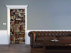 Books Door Mural Vinyl Doors, Door Murals, Couch, Books, Furniture, Design, Home Decor, Livros, Homemade Home Decor