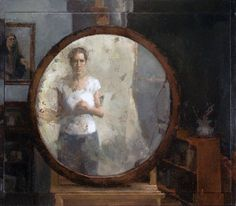 """Carolyn Pyfrom, now we see through a glass darkly, 27"" x 31"", oil on linen and wood, 2005, from the Brown St. series """