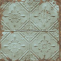 Old tin ceilingtiles aqua behang FD22331, Reclaimed van Dutch Wallcoverings