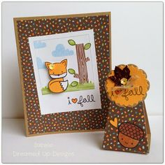 Lawn Fawn - Into the Woods stamps and 6x6 paper, Mixed Sequins - Adorable card and treat box by Sabine for Lawnscaping Challenge: Fall Fun