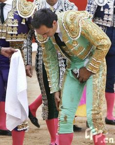 teen matador / torero ( bullfighter ) showing crotch